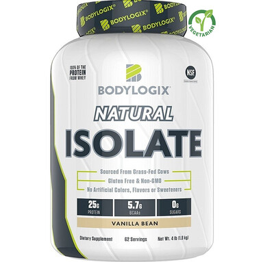 Bodylogix Natural Grass-Fed Whey Isolate Protein Powder, Vanilla Bean, 4 lb