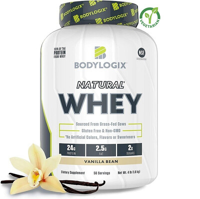 Bodylogix Natural Grass-Fed Whey Protein Powder, Vanilla Bean, 4 lb