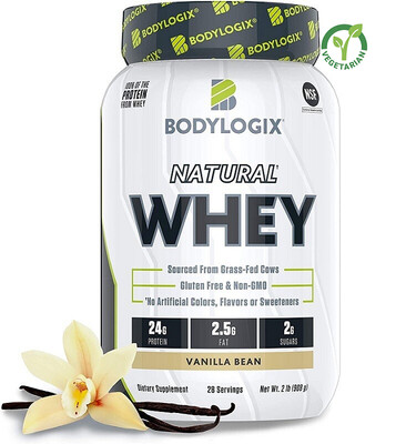 Bodylogix Natural Grass-Fed Whey Protein Powder, Vanilla Bean, 2 lb