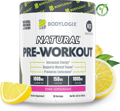 Bodylogix Natural Pre-Workout Powder, Pink Lemonade, 8.57 Ounce