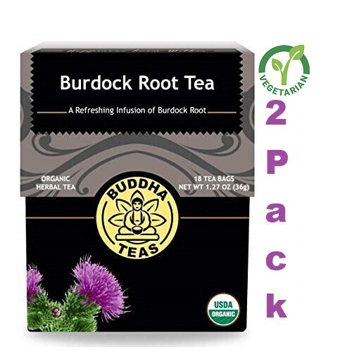 Buddha Teas Burdock Root Tea, Organic Herbs, 18 Bleach Free Tea Bags, Pack of 2