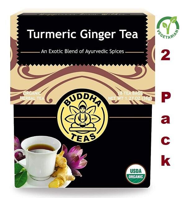 Buddha Teas Turmeric Ginger Tea, Organic Herbs, 18 Bleach Free Tea Bags, Pack of 2