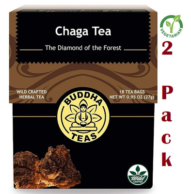 Buddha Chaga Tea, Organic Herbs, 18 Bleach Free Tea Bags, Pack of 2