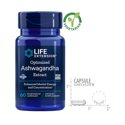 Life Extension Optimized Ashwagandha Extract, 60 Vegetarian Capsules