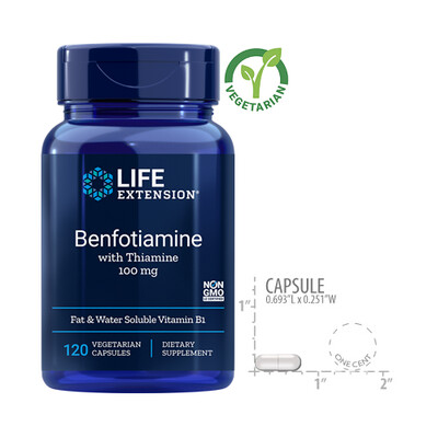 Life Extension Benfotiamine with Thiamine, 120 Capsules