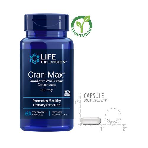 Life Extension Cran-Max 500 Mg, 60 Vegetarian Capsules