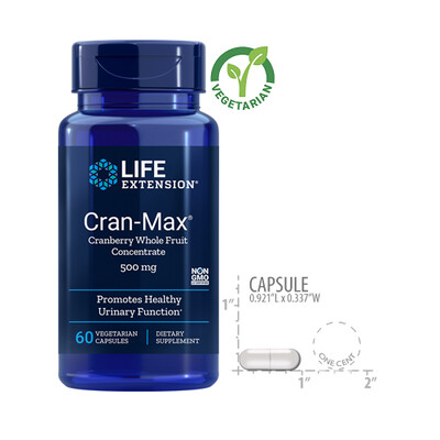 Life Extension Cran-Max 500 Mg, 60 Vegetarian Capsules