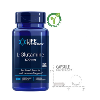 Life Extension L-Glutamine 500 mg, 100 Capsules