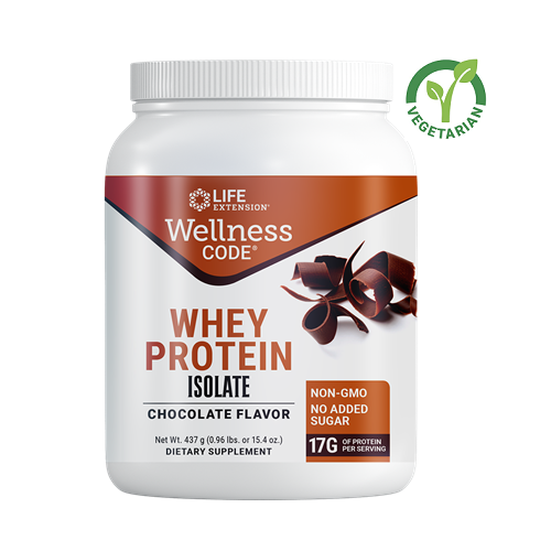 Life Extension Wellness Code Whey Protein Isolate, Chocolate, 15.4 Ounce