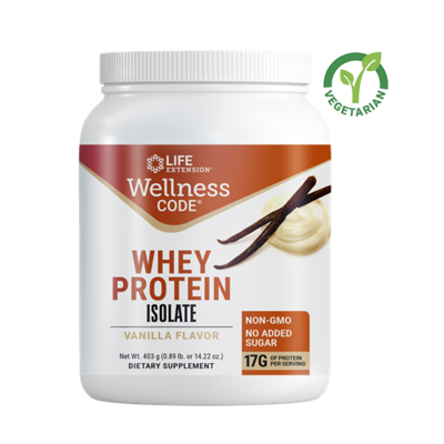 Life Extension Wellness Code Whey Protein Isolate, Vanilla, 14.22 Ounce