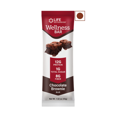 Life Extension Wellness Protein Bar, Chocolate Brownie, 12 Bars/Pack