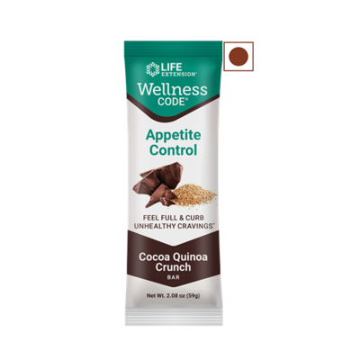 Life Extension Wellness Protein Bar, Cocoa Quinoa Crunch, 12 Bars/Pack
