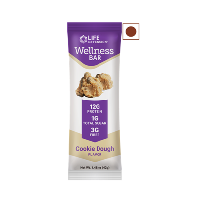 Life Extension Wellness Protein Bar, Cookie Dough, 12 Bars/Pack