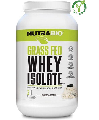 NutraBio Grass Fed Whey Isolate Protein, Cookies and Cream, 2 lb