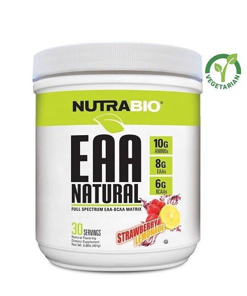 NutraBio EAA-BCAA Matrix Natural Powder, Strawberry Lemonade, 0.88 lb