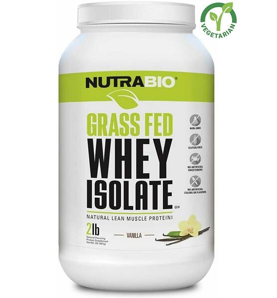 NutraBio Grass Fed Whey Isolate Protein, Vanilla, 2 lb