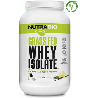 NutraBio Grass Fed Whey Isolate Protein, Vanilla, 2 lb