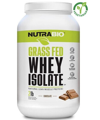 NutraBio Grass Fed Whey Isolate Protein, Chocolate, 2 lb