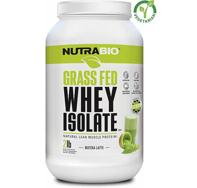NutraBio Grass Fed Whey Isolate Protein, Matcha Latte, 2 lb