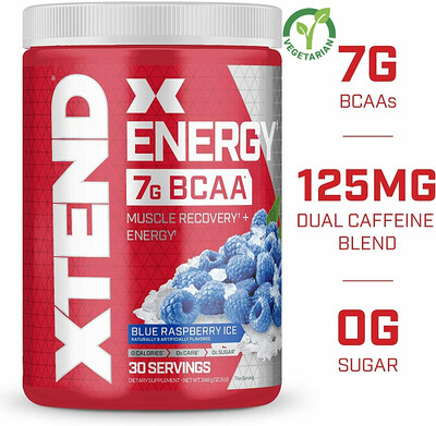Scivation Xtend Energy Bcaa Powder, Blue Raspberry, 12.3 Ounce