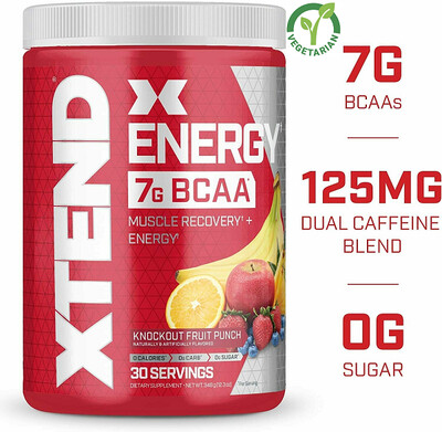 Scivation Xtend Energy Bcaa Powder, Knockout Fruit Punch, 12.3 Ounce