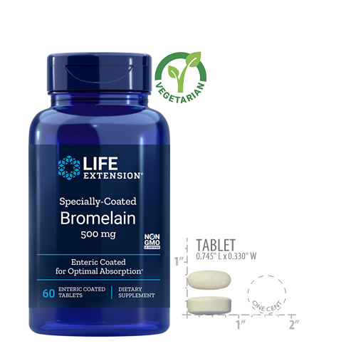 Life Extension Specially-Coated Bromelain 500 Mg, 60 Tablets