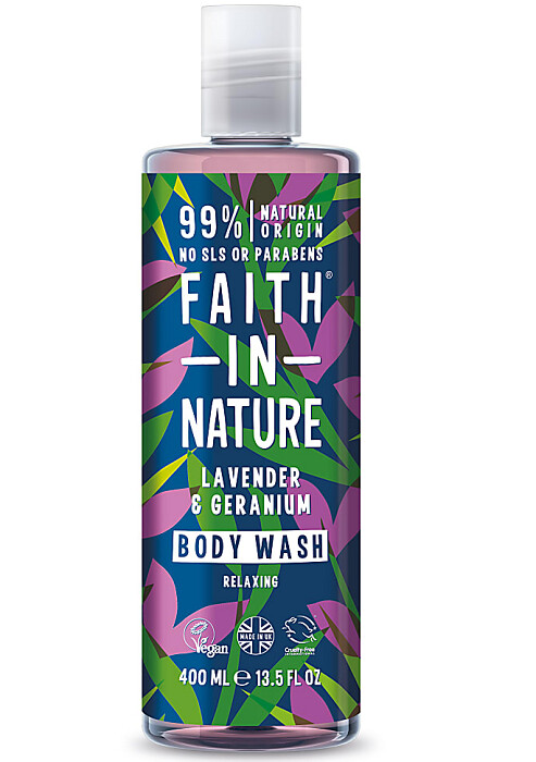 Faith in Nature Shower Gel Body Wash, Lavender and Geranium, 13.5 fl Ounce