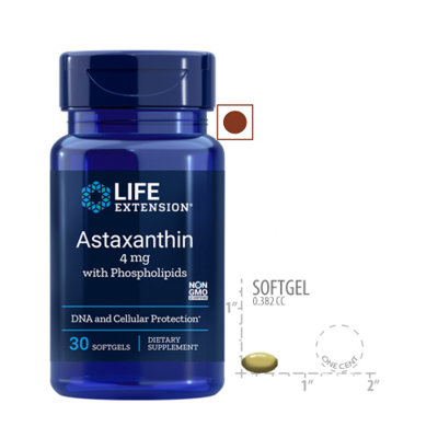 Life Extension Astaxanthin with Phospholipids 4 mg, 30 Softgels