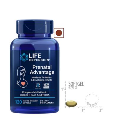 Life Extension Prenatal Advantage Complete Multivitamin Choline Folic Acid Dha, 120 Softgels