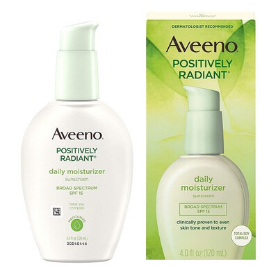 Aveeno Positively Radiant Daily Face Moisturizer, SPF 15, 4 fl Ounce