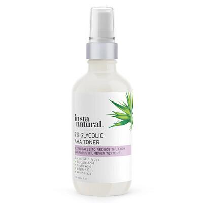 InstaNatural Glycolic Acid Facial Toner 7% with Vitamin C, 4 fl Ounce