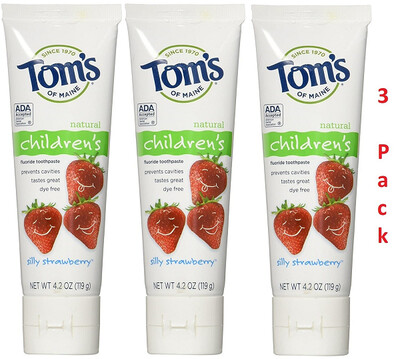 Toms of Maine Anticavity Childrens Toothpaste, Silly Strawberry, 4.2 Ounce, Pack of 3