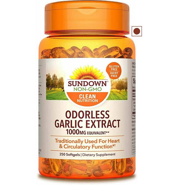 Sundown Garlic 1000 mg, 250 Odorless Softgels