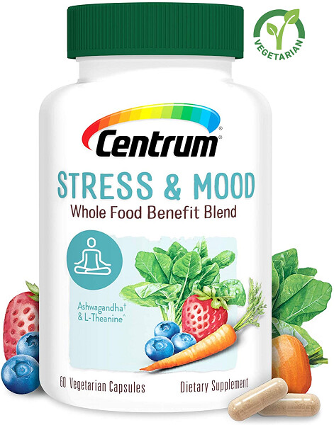 Centrum Stress and Mood Whole Food Benefit Blend, 60 Capsules