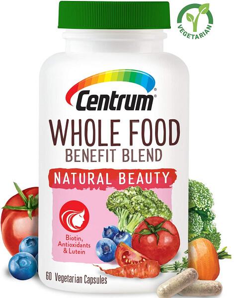 Centrum Whole Food Benefit Blend Natural Beauty, 60 Capsules