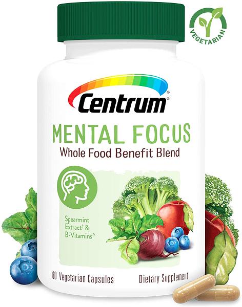 Centrum Whole Food Benefit Blend Mental Focus, 60 Capsules