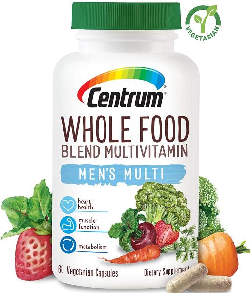 Centrum Whole Food Multivitamin for Men, 60 Capsules