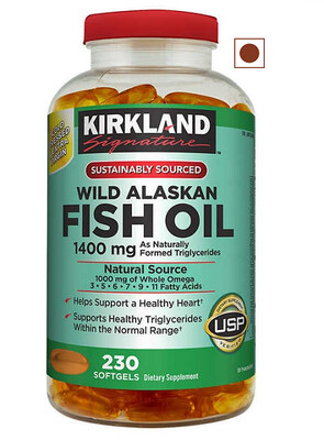 Kirkland Signature Wild Alaskan Fish Oil 1400 mg, 230 Softgels