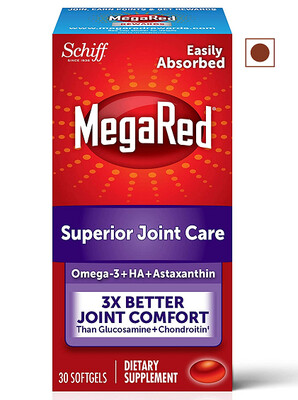 MegaRed Joint Care, Omega 3 Krill Oil Hyaluronic Acid and Astaxanthin, 30 Softgels