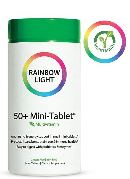 Rainbow Light 50+ Mini-Tablet Food-Based Multivitamin Anti-aging and Energy, 90 Tablets