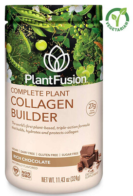 PlantFusion Collagen Builder Plant-Based Peptides Protein Powder, Rich Chocolate, 11.42 Ounce