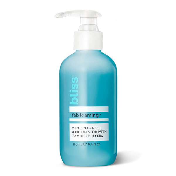 Bliss Fab Foaming 2-In-1 Cleanser and Exfoliator with Bamboo Buffers, 6.4 fl Ounce