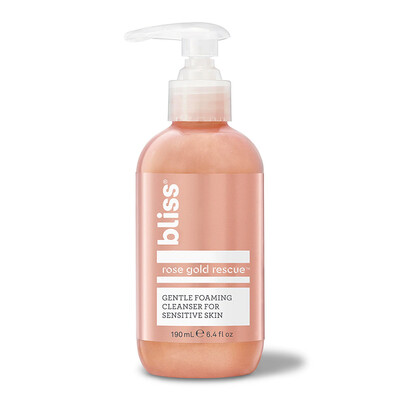 Bliss Rose Gold Rescue Cleanser, Gentle Foaming Face Wash, 6.4 fl Ounce