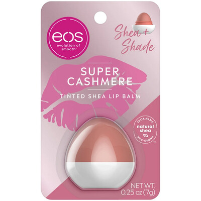 eos Shea + Shade Tinted Lip Balm, Super Cashmere, 0.25 Ounce