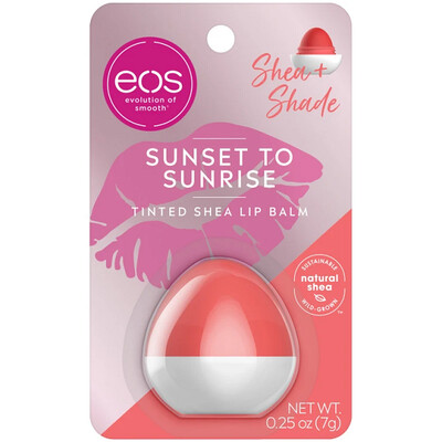 eos Shea + Shade Tinted Lip Balm, Sunset to Sunrise, 0.25 Ounce