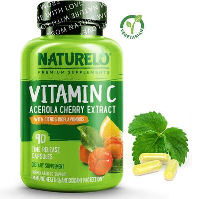 Naturelo Vitamin C with Organic Acerola Cherry, 90 Capsules