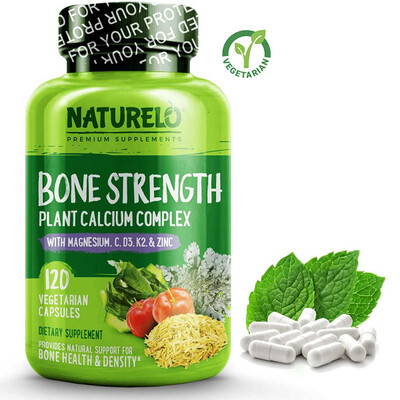 NATURELO Bone Strength Plant-Based for Bone Health, 120 Capsules