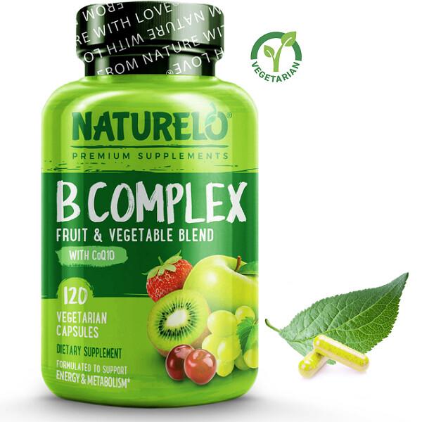 Naturelo B Complex Whole Food with Vitamin B6, Folate, B12, Biotin, 120 Capsules