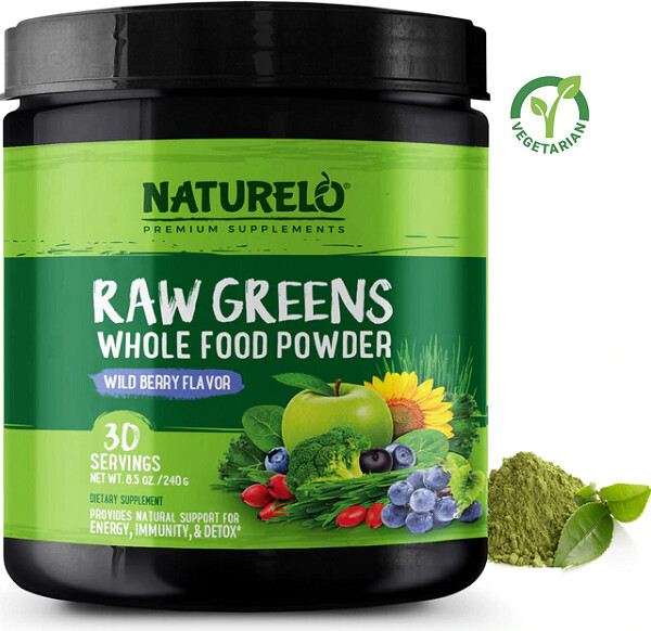 Naturelo Raw Greens Superfood Powder, Wild Berry, 8.5 Ounce