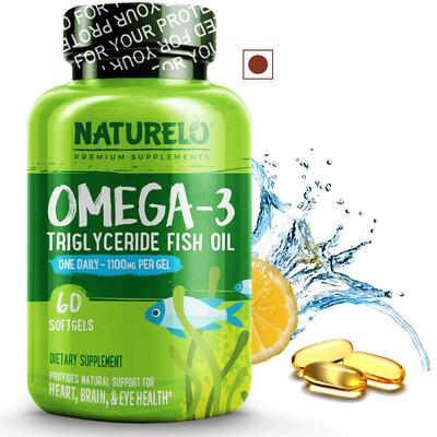NATURELO Omega-3 Fish Oil 1100 mg, Lemon Flavor, 60 Softgels